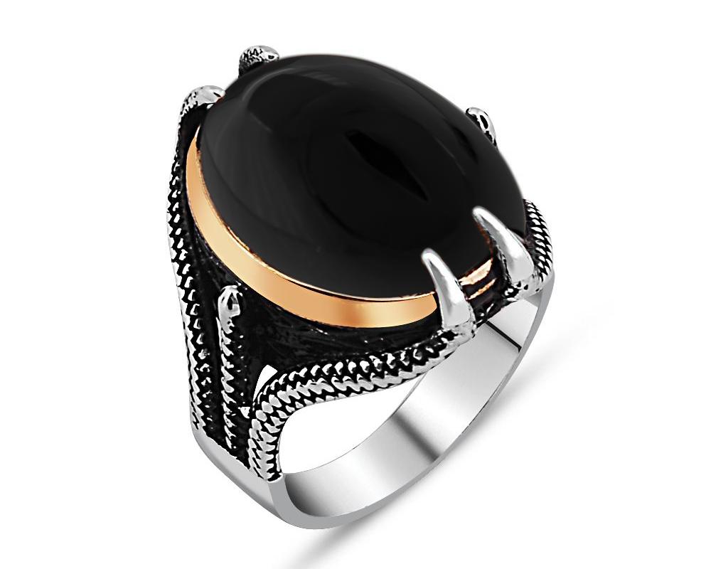 Pençe Tasarım Siyah Oniks Taşlı 925 Ayar Gümüş Erkek Yüzük