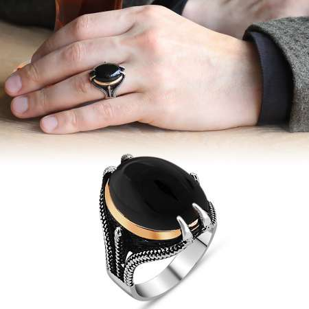 Tesbihane - Pençe Tasarım Siyah Oniks Taşlı 925 Ayar Gümüş Erkek Yüzük