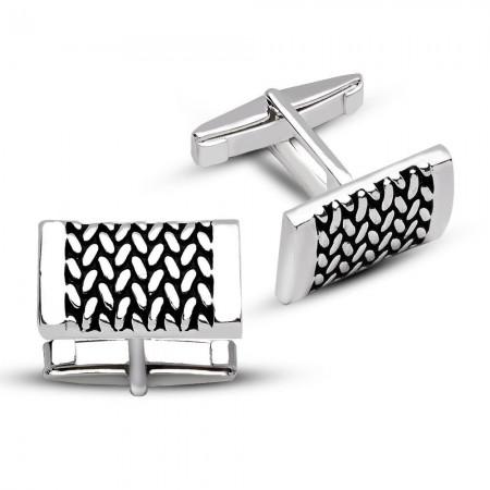 Tesbihane - 925 Ayar Gümüş Perçin Model Kol Düğmesi