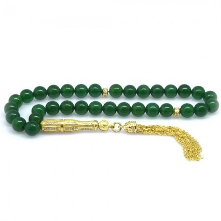 Tesbihane - 925 Ayar Gümüş Zirkon Taş İmameli Küre Kesim Yeşil Akik Tesbih