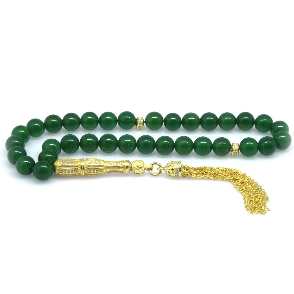 925 Ayar Gümüş Zirkon Taş İmameli Küre Kesim Yeşil Akik Tesbih