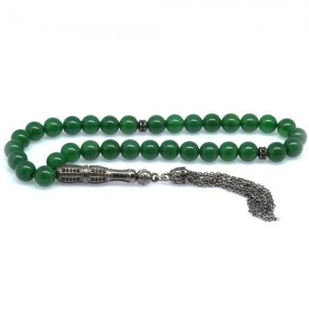 Tesbihane - 925 Ayar Gümüş Zirkon Taş İmameli Küre Kesim Koyu Yeşil Akik Tesbih