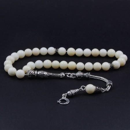 Tesbihane - 925 Ayar Gümüş Püsküllü Beyaz Mercan Tesbih
