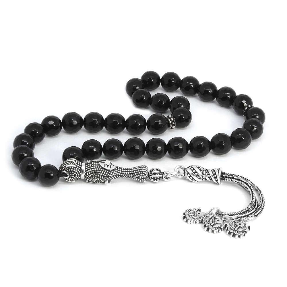 925 Ayar Gümüş Püsküllü Fasetalı Küre Kesim Siyah Oniks Doğaltaş Tesbih