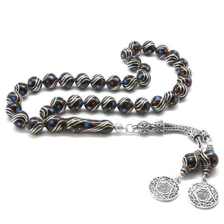 Tesbihane - 925 Ayar Gümüş Püsküllü Gümüş-Firuze-Mercan İşlemeli Küre Kesim Erzurum Oltu Taşı Tesbih