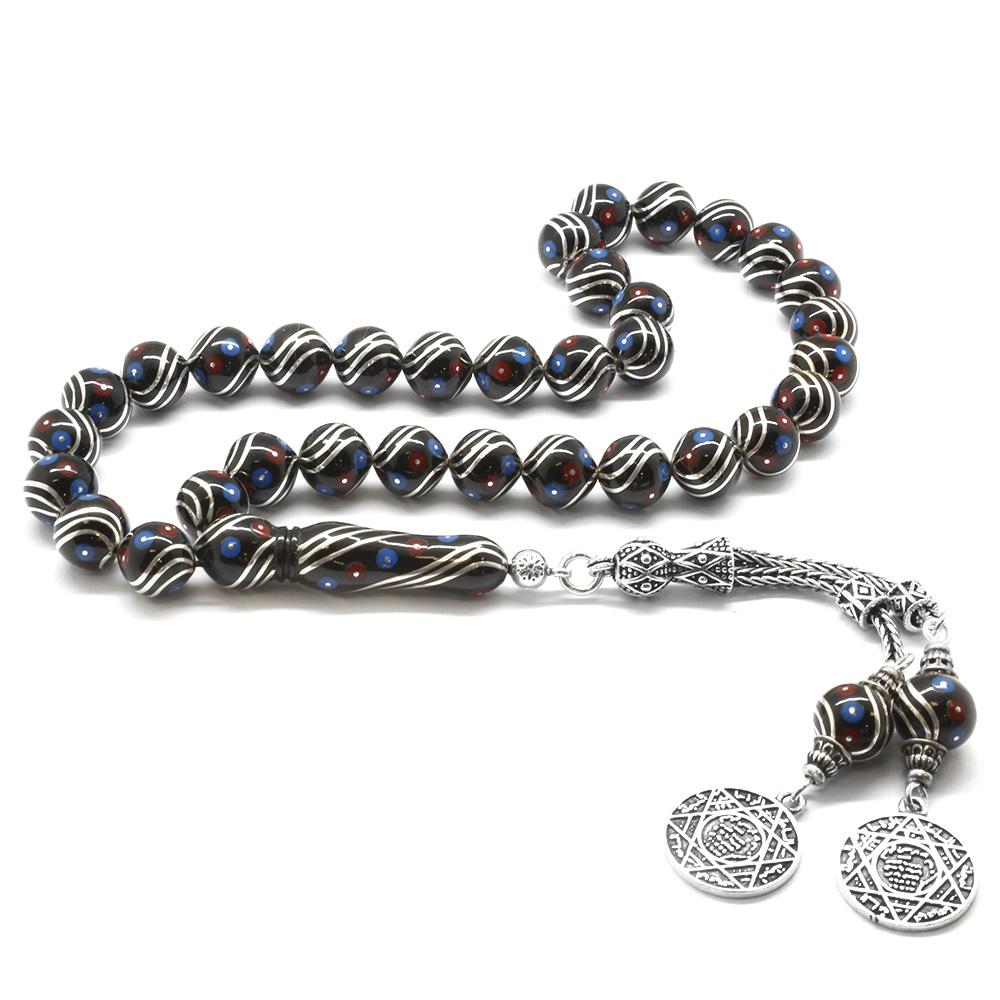 925 Ayar Gümüş Püsküllü Gümüş-Firuze-Mercan İşlemeli Erzurum Oltu Taşı Tesbih