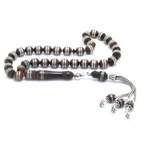 Tesbihane - 925 Ayar Gümüş Püsküllü Gümüş Sarmallı Küre Kesim Kuka Tesbih