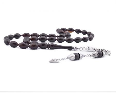 Tesbihane - 925 Ayar Gümüş Püsküllü Kahverengi Kehribar Tesbih