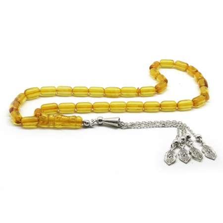 Tesbihane - 925 Ayar Gümüş Püsküllü Kapsül Kesim Sarı Damla Kehribar Tesbih