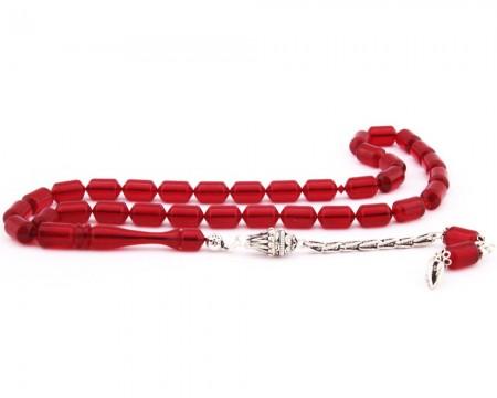 - 925 Ayar Gümüş Püsküllü Köşeli Kapsül Kesim Sıkma Kehribar Tesbih (Model-2)