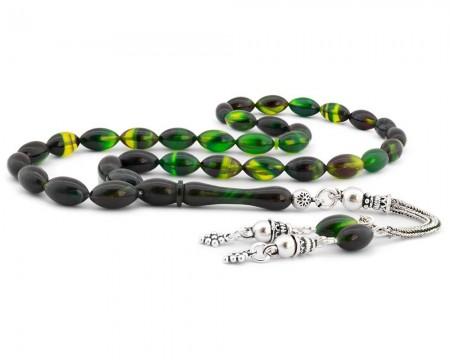 Tesbihane - 925 Ayar Gümüş Püsküllü Koyu Yeşil Hareli Sıkma Kehribar Tesbih