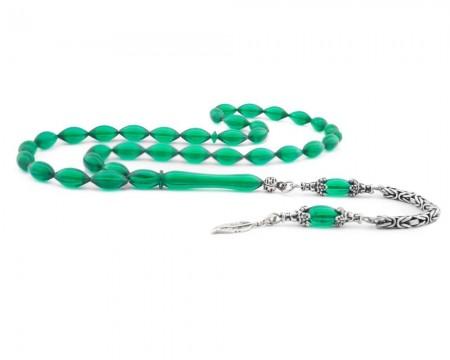 Tesbihane - 925 Ayar Gümüş Püsküllü Koyu Yeşil Sıkma Kehribar Tesbih