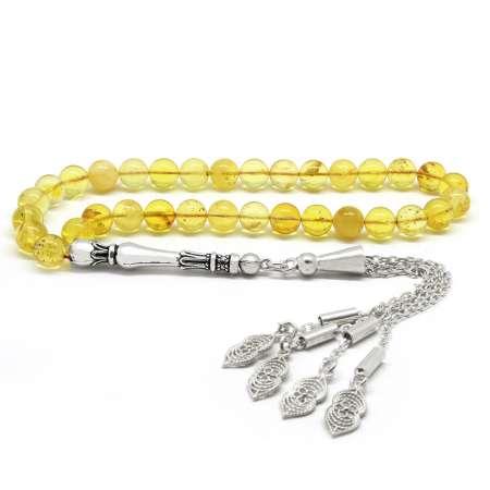 Tesbihane - 925 Ayar Gümüş Püsküllü Küre Kesim Açık Sarı Damla Kehribar Tesbih