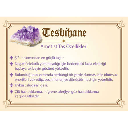925 Ayar Gümüş Püsküllü Küre Kesim Ametist Efe Tesbih - Thumbnail
