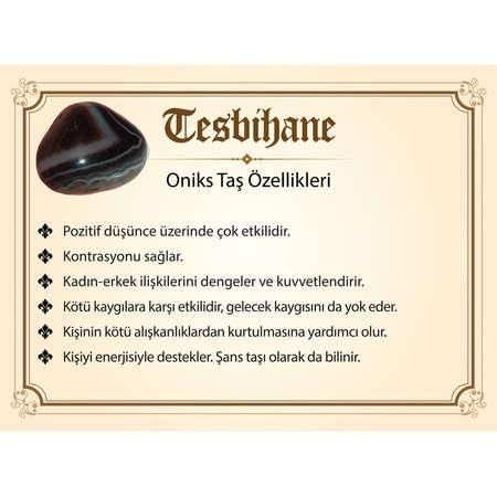 925 Ayar Gümüş Püsküllü Küre Kesim İsim Yazılı Siyah Oniks Doğaltaş Tesbih - Thumbnail