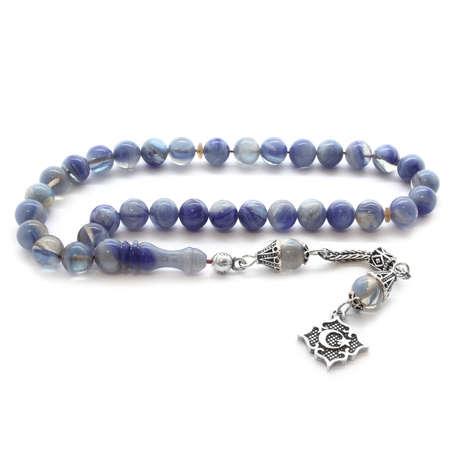 Tesbihane - 925 Ayar Gümüş Püsküllü Küre Kesim Mavi Hareli Sıkma Kehribar Tesbih