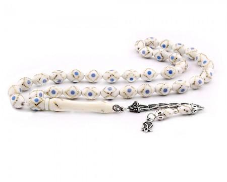Tesbihane - 925 Ayar Gümüş Püsküllü Mavi Mine İşlemeli Deve Kemiği Tesbih