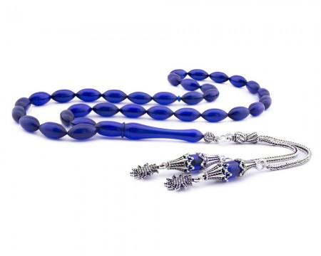 Tesbihane - 925 Ayar Gümüş Püsküllü Parlement Mavi Sıkma Kehribar Tesbih