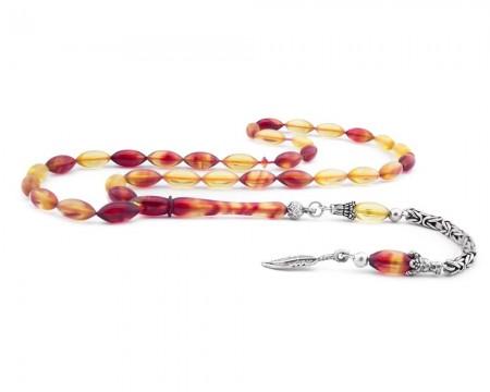 Tesbihane - 925 Ayar Gümüş Püsküllü Sarı Kırmızı Hareli Sıkma Kehribar Tesbih