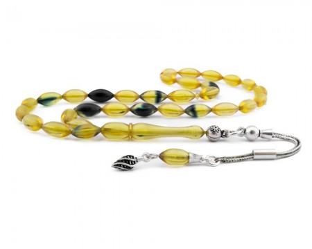 - 925 Ayar Gümüş Püsküllü Sarı Lacivert Hareli Sıkma Kehribar Tesbih