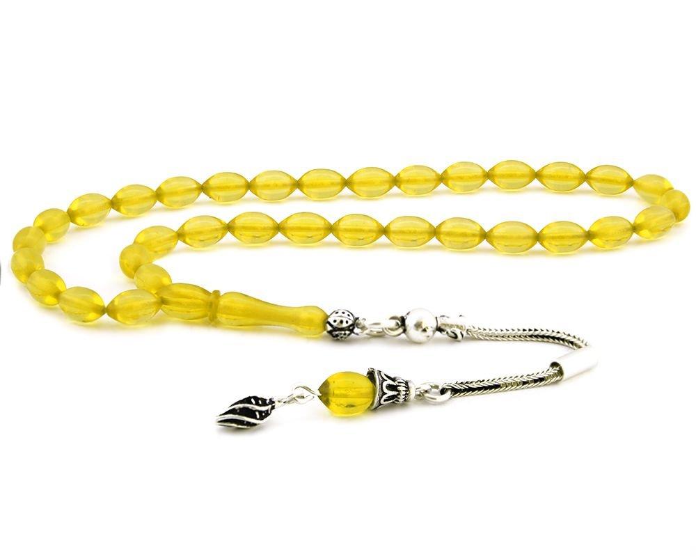925 Ayar Gümüş Püsküllü Sarı Renk Arpa Kesim Sıkma Kehribar Tesbih