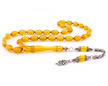 - 925 Ayar Gümüş Püsküllü Sarı Sıkma Kehribar Tesbih (model 2)