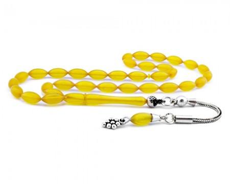 Tesbihane - 925 Ayar Gümüş Püsküllü Sarı Sıkma Kehribar Tesbih