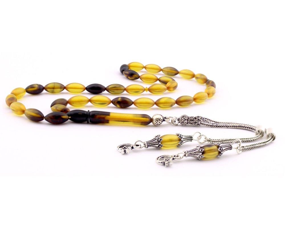 925 Ayar Gümüş Püsküllü Sarı Siyah Hareli Sıkma Kehribar Tesbih