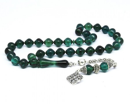Tesbihane - 925 Ayar Gümüş Püsküllü Sığırcık Kesim Yeşil Sıkma Kehribar Tesbih