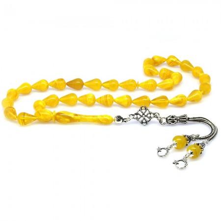 Tesbihane - 925 Ayar Gümüş Ayyıldız Püsküllü Damla Kesim Sarı Sıkma Kehribar Tesbih