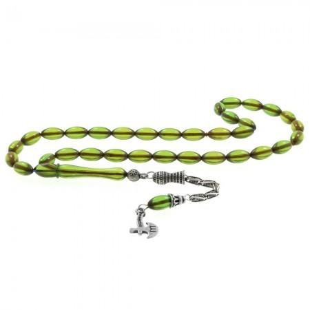 Tesbihane - 925 Ayar Gümüş Kayı Püsküllü Arpa Kesim Yeşil Sıkma Kehribar Tesbih