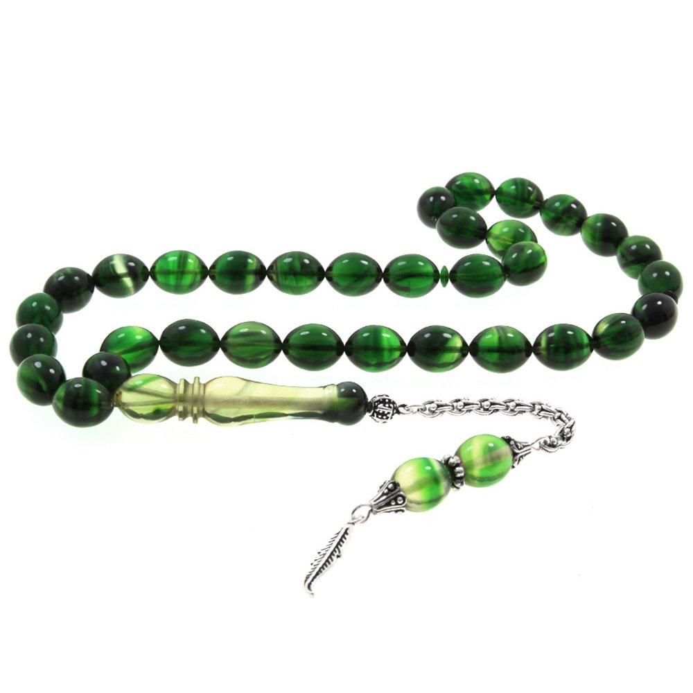 925 Ayar Gümüş Arnavut Püsküllü Arpa Kesim Yeşil Sıkma Kehribar Tesbih