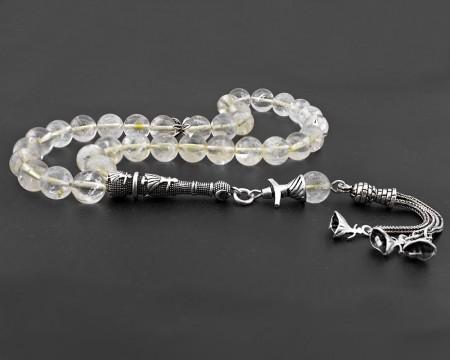 - 925 Ayar Gümüş Püsküllü Sitrin Doğaltaş Tesbih