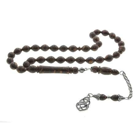 Tesbihane - 925 Ayar Gümüş Püsküllü Arpa Kesim Tarçın Ağacı Tesbih