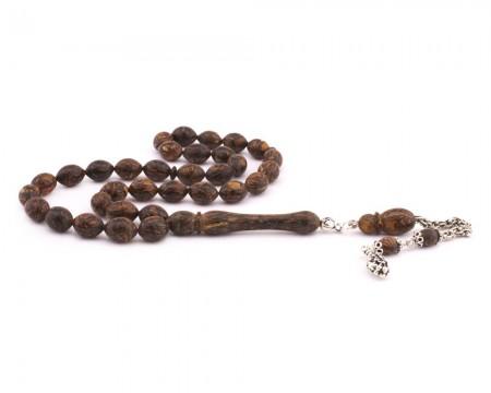 Tesbihane - 925 Ayar Gümüş Arnavut Püsküllü Arpa Kesim Tarçın Ağacı Tesbih