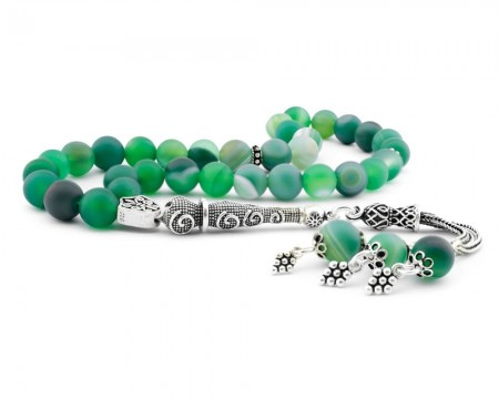 - 925 Ayar Gümüş Püsküllü Yeşil Akik Taşlı Tesbih