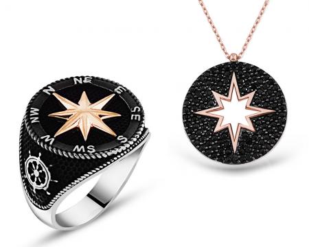 Tesbihane - 925 Ayar Gümüş Pusula Yüzük ve Gümüş Kutup Yıldızı Kolye Kombini