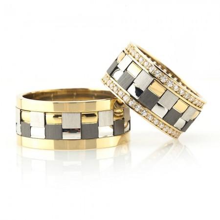 Tesbihane - Modern Kare Tasarım Gri-Gold Renk 925 Ayar Gümüş Çift Alyans