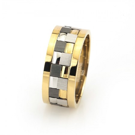 Tesbihane - Modern Kare Tasarım Gri-Gold Renk 925 Ayar Gümüş Erkek Alyans