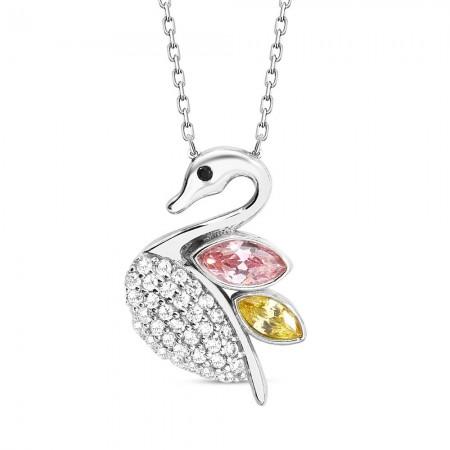 Tesbihane - Renkli Zirkon Taşlı Kuğu Tasarım 925 Ayar Gümüş Bayan Kolye