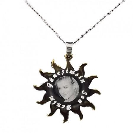 Tesbihane - 925 Ayar Gümüş Resim Baskılı Güneşimsin Kolye