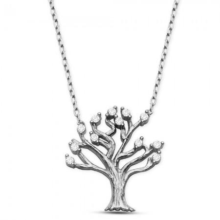 Tesbihane - 925 Ayar Gümüş Rodyum Hayat Ağacı Kolye