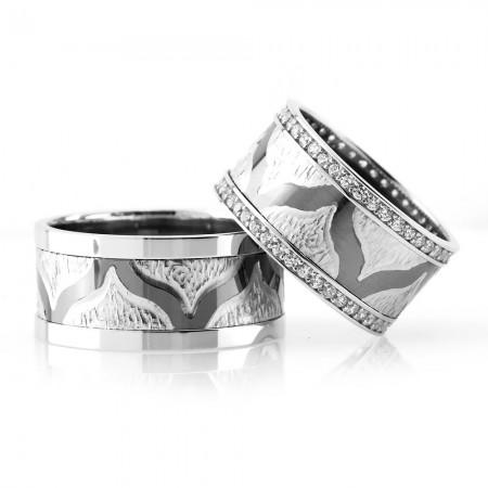 Tesbihane - Modern ve Şık Tasarım 925 Ayar Gümüş Çift Alyans