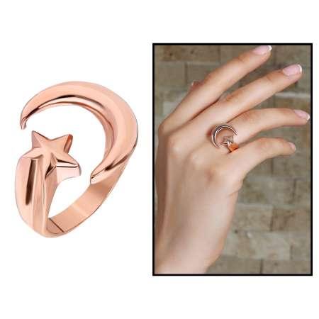 925 Ayar Gümüş Rose Renk Ayyıldız Tasarım Bayan Yüzük - Thumbnail