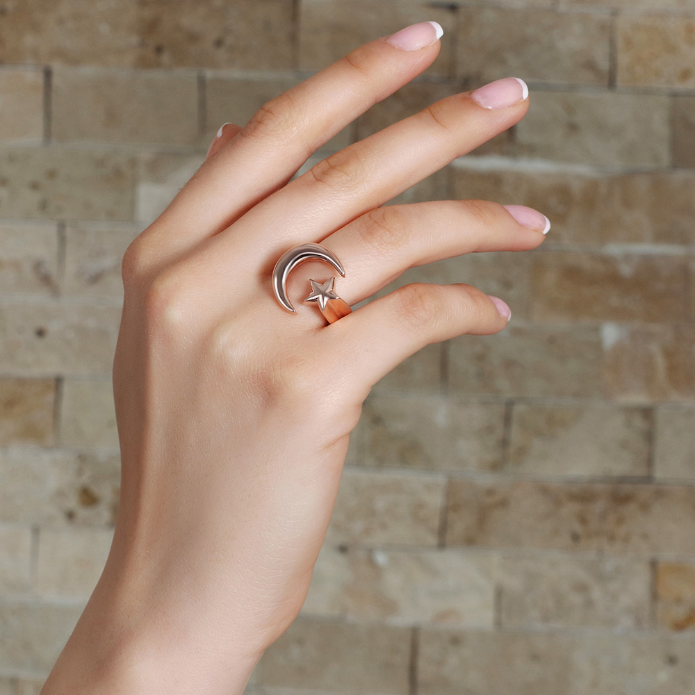 925 Ayar Gümüş Rose Renk Ayyıldız Tasarım Bayan Yüzük