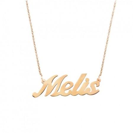 Tesbihane - Gold Renk Kişiye Özel İsim Yazılı 925 Ayar Gümüş Bayan Kolye