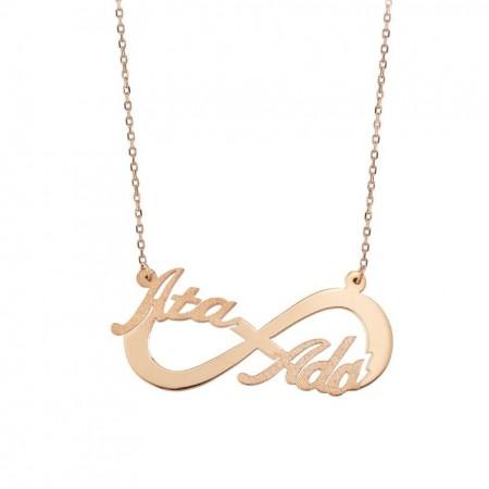 Tesbihane - Gold Renk Kişiye Özel İsim Yazılı 925 Ayar Gümüş Sonsuzluk Kolye