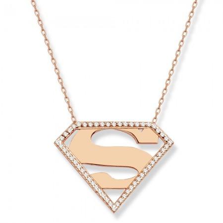 Tesbihane - 925 Ayar Gümüş Rose Kaplama Superman Kolye