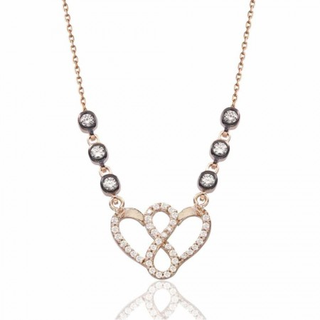 - 925 Ayar Gümüş Rose Kaplı Kalbimdesin Kolye