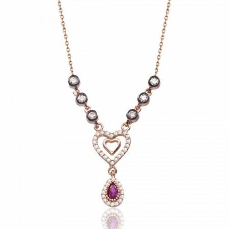 Tesbihane - 925 Ayar Gümüş Rose Kaplı Kalp İçinde Kalp Kolye